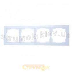 Рамка 4-постовая горизонтальная белая/белый лед Neo 3901M-A00140 01