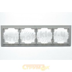 Рамка 4-постовая горизонтальная белый/серый лед Neo 3901M-A00140 44