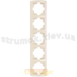 Рамка 5-постовая вертикальная Viko Carmen кремовый цвет
