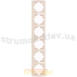 Рамка 6-постовая вертикальная  Viko Carmen кремовый цвет 90572006
