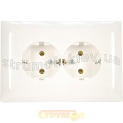 Розетка 2-двойная Z с заземлением ABB Basic 55 20-02 EUJ-94-507 16А белый цвет