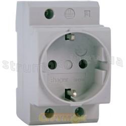 Розетка Hager для монтажа на DIN-рейку SN016 250В/16А, 2,5 модуля