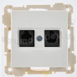 Розетка ТF телефонная 2-двойная 2хRJ12 белый цвет 2100-126-0101 GES