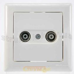 Розетка ТV-R телевизионная/радио конечная белый цвет GES 2100-151-0201