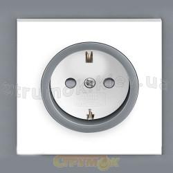 Розетка Z c заземлением / заслонкой белый/серый лед Neo 5518М-А03459 44
