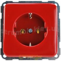 Розетка с заземлением Z красная Regina (гвинт) 13000557