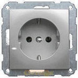 Розетка Z с заземлением / крышкой металлик Fiorena 22001309 Hager / Polo