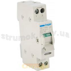 Выключатель нагрузки Hager I-0 ~230В / 16А с индикацией 1м SB 116М   Рубильник разрывной Hager I-0 ~230В / 16А с индикацией 1м SB 116М 1-полюсный