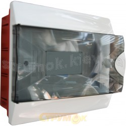 Корпус на 12 автоматов пластмассовый внутренний белого цвета с дымчатой дверцей GUNSAN Visage