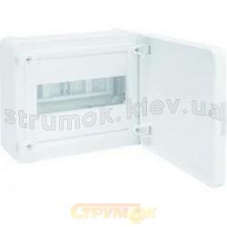Щит пластиковый Hager 8 модулей (1х8 (накладной) непрозрачная дверца) GOLF VS108РD