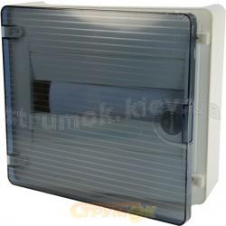 Щит пластиковый на 8 модулей накладной с прозрачной дверцей (1х8) GOLF VS108TD