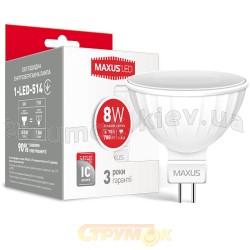 Светодиодная лампа MAXUS LED MR16 8W 4100K 220V GU5.3 1-LED-514