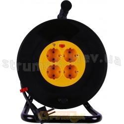 Удлинитель на катушке 50 метров/ 4 гнезда Z с заземлением медный провод ПВС 3*1,5 | кабель ПВС 3х1,5