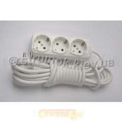 Удлинитель электрический 3 гнезда/ 3 метра Z (с заземлением) LILAC Турция