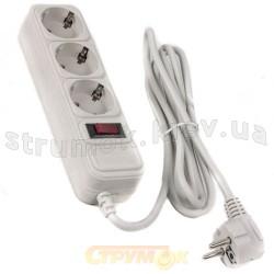 Удлинитель электрическийl 3 гнезда / 3 метра (с заземлением / выключателем / сетевым фильтром) Surge Protector SP3-G-10W