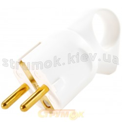 Вилка электрическая Z 50190 белая ручка с кольцом Legrand