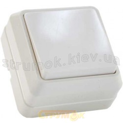 Выключатель 1-клавишный накладной В310-1-0-Сt-W белый цвет Укрем АсКо