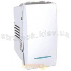 Выключатель 1-клавишный с подсветкой 1 модуль Schneider Unica MGU3.101.18N белый цвет