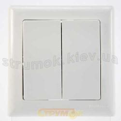 Выключатель 2-клавишный белый цвет 2100-002-0101 GES