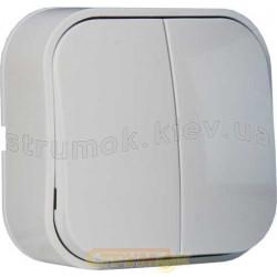 Выключатель 2-клавишный EVA HOROZ 112-001-0003 накладной белый цвет