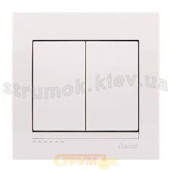 Выключатель 2-клавишный LEZARD DERIY 702-0202-101 белого цвета