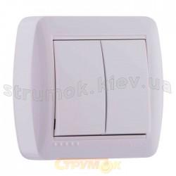 Выключатель 2-клавишный накладной LEZARD DEMET 711-0200-101 белый цвет