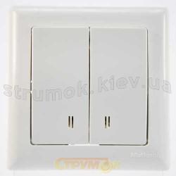 Выключатель 2-клавишный с подсветкой белый цвет 2100-026-0101 GES