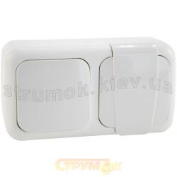 Выключатель + розетка с заземлением накладные Viko Palmiye 90555581 IP54