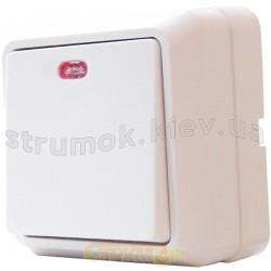 Выключатель 1-клавишный с подсветкой наружный ВЗ10-1-1-Сb-W белый АСКО