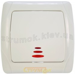 Выключатель 1-клавишный с подсветкой Viko Carmen белый цвет