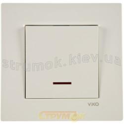 Выключатель 1-клавишный с подсветкой Viko Karre белый цвет 90960019