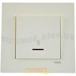 Выключатель 1-клавишный универсальный с подсветкой Viko Karre белый цвет