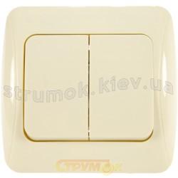 Выключатель 2-клавишный 10А BBсб10-2-0-Sq-І слоновая кость АСКО