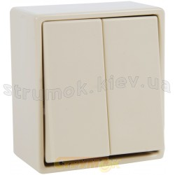 Выключатель 2-клавишный 5655 23001802 Hager / Polo слоновая кость