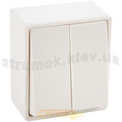 Выключатель 2-клавишный 5655 Hager / Polo белый цвет