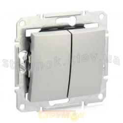 Выключатель 2-клавишный BB10 - 2-0 - Sq - W белый цвет Укрем АсКо