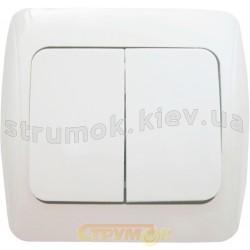 Выключатель 2-клавишный BBсб10-2-0-Sq-W белый АСКО