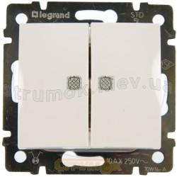 Выключатель 2-клавишный с подсветкой 10А Legrand Valena 774428 белый