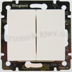 Выключатель 2-клавишный проходной универсальный Legrand Valena 774408 белый цвет