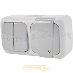 Выключатель 2-клавишный + розетка Z с заземлением Viko Palmiye 90555582 IP54 накладные