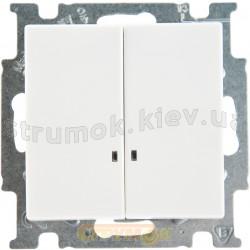 Выключатель 2-клавишный с подсветкой ABB Basic 55 2006/5 UC GL-94-507 10А белый цвет