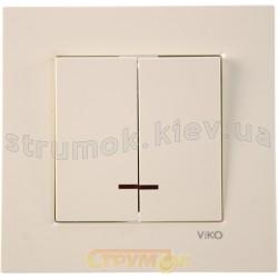 Выключатель 2-клавишный с подсвeткой кремовый KARRE VI-KO