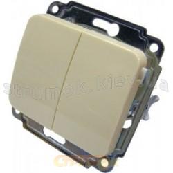 Выключатель 2-клавишный Укрем АсКо слоновая кость BB10-2-0-Sq-І