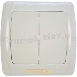 Выключатель 2-клавишный Viko Carmen 90561002 белый цвет