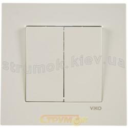 Выключатель 2-двойной Viko Karre 90960002 белый цвет