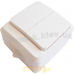 Выключатель 2-клавишный ВЗ10-2-IP44 белый АСКО