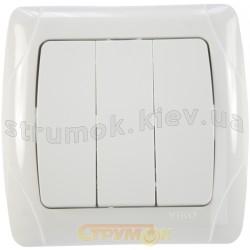 Выключатель 3-клавишный Viko Carmen белый цвет