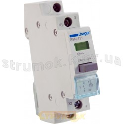 Выключатель кнопочный возвратный с зеленым индикатором 230В/16А,1НВ, 1м SVN411 HAGER