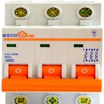 Автоматический выключатель ECOHOME 3p D 80A Аско Укрем ECO 3-полюсный ECO070010004