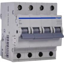 Автоматический выключатель Hager 6А 4ф B 6кА MB406A 4-полюсный